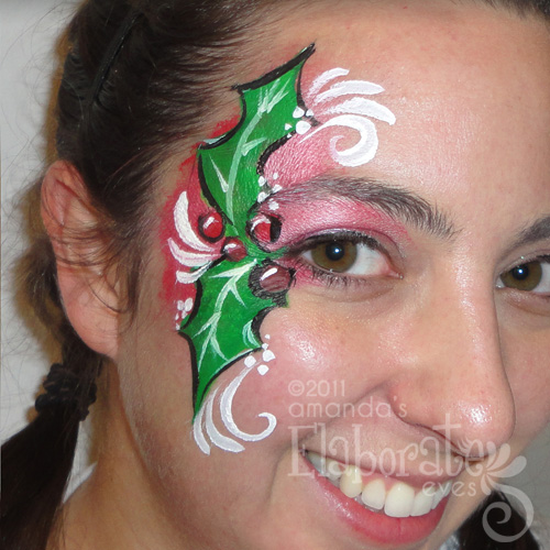 Holly Face Paint On Cheek