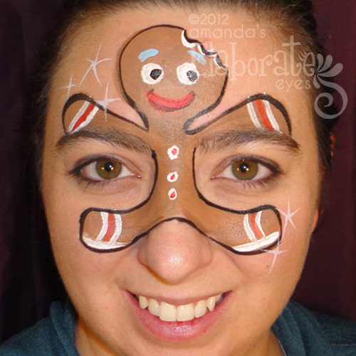 Christmas Face Paint.Christmas Elaborate Eyes Face Painting